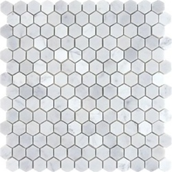 Honed white carrera marble hexagon tile