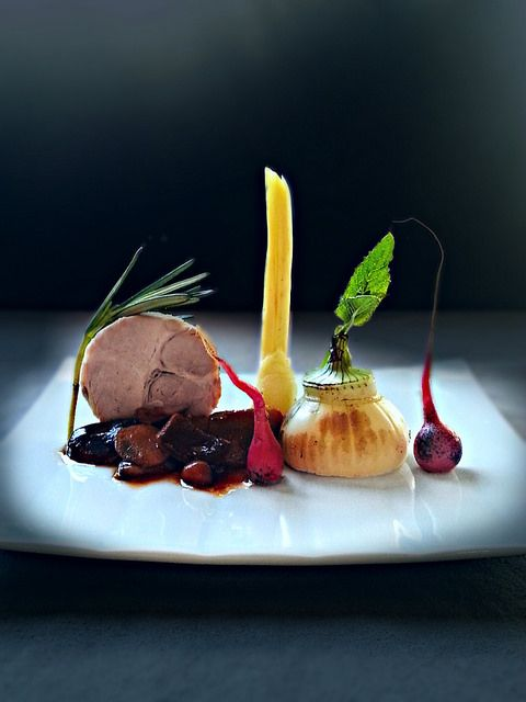 pork roast, burned root vegetables, mushroom ragout by uwe spätlich, via Flickr