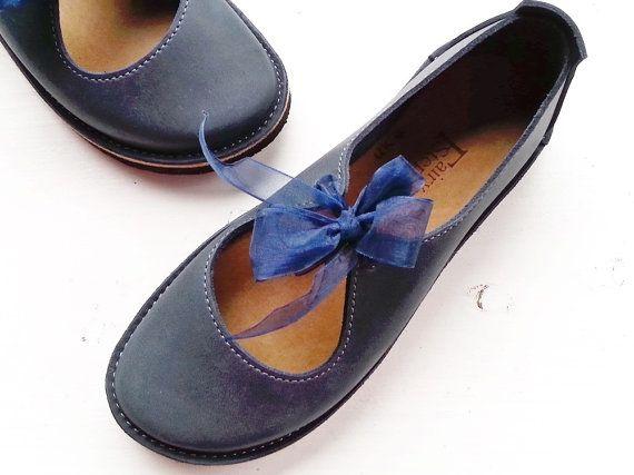 Luna Lovegood, Handmade Leather Woodland Shoes, LUNA in Moody blue