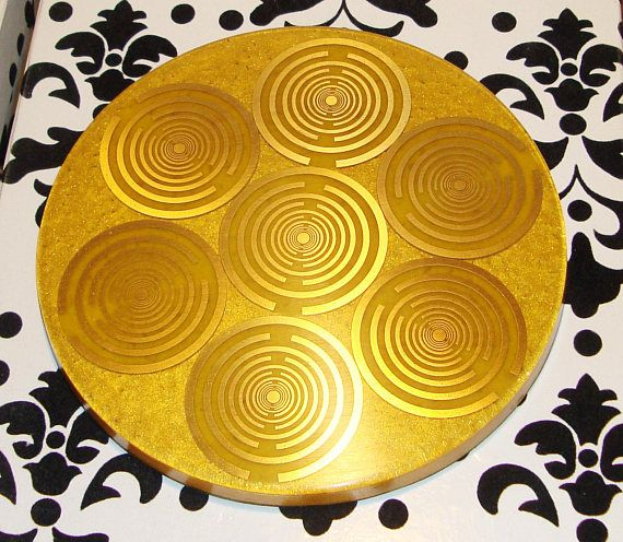 Orgone orgonite® all-powerful golden charging plate, 10'' disc, 14 MWO by Lakhovsky, Food structure, Sacred geometry, abundance, prosperity