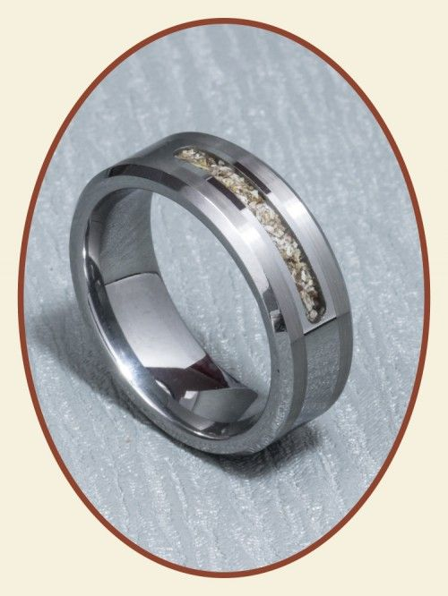 Tungsten Carbide Men's Cremation Jewelry Ash Ring 8mm width RB045