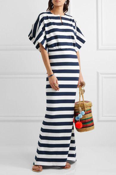 Obie striped stretch-cotton jersey maxi dress ||Norma Kamali