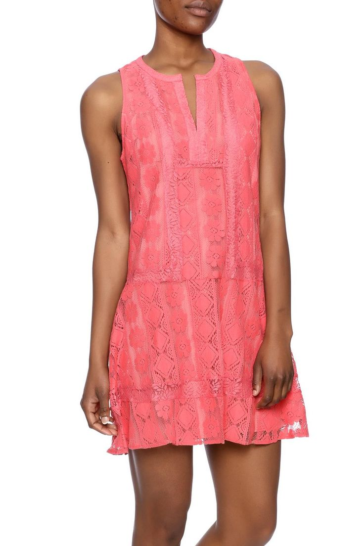"Coral lace dress that is fitted through the top with a flirty A-line skirt. Invisible side zip.    Approx. Measure: 34.50"" long from shoulder to bottom hem.   Coral Lace Dress by Esley Collection. Clothing - Dresses - Lace Clothing - Dresses - Casual Tennessee"