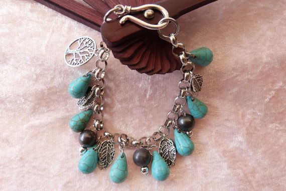 Turquoise tear-drops by AlluringBracelets on Etsy