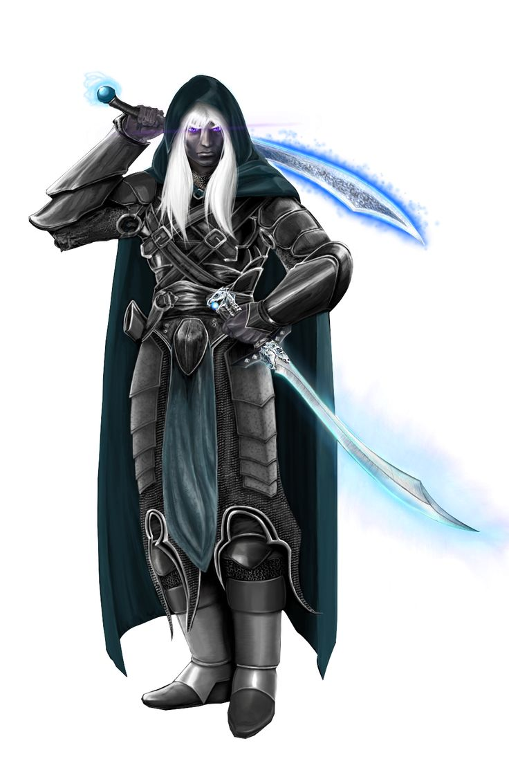 Drizzt Do'Urden, with twin swords, IcingDeath and Twinkle (yes, Twinkle)