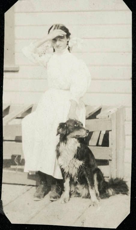 vintage photo Teen Girl w Collie DOg by maclancy on Etsy, $4.75
