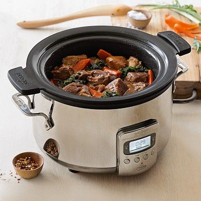 All-Clad 4qt. Deluxe Slow Cooker with Cast Aluminum Insert #williamssonoma | $199.95 | 300.00 retail.