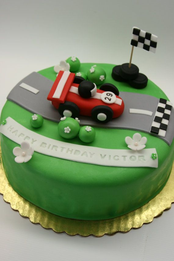 Racing Car Cake Topper by BeautifulKitchen on Etsy, $20.00