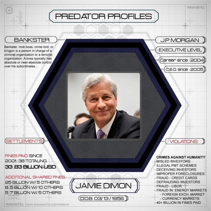 Jamie Dimon - JPMorgan Chase, a prime symbol of financial sector misconduct and reckless behavior in recent years, represents the consolidation of several of the most powerful New York and Chicago money center banks as well as the investment house founded by the legendary financier and robber baron J.P. Morgan... read more - http://www.braveworld.cc/predator-profile-jp-morgan-chase/