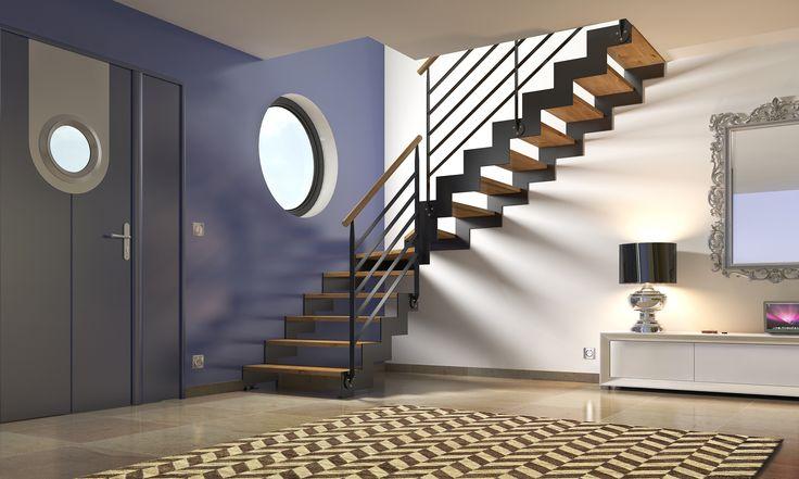 Modèle présenté (visuel principal): Double Limon-Crémaillère métallique avec découpage en forme de marches. Finition de la crémaillère laquée gris anthracite. Marches en chêne teintées vernis incolore. Garde-corps rampant métal laqué gris anthracite avec main courante en chêne teintée vernis incolore. Toutes finitions et garde-corps possibles. Design idéal pour tout types d'escaliers. Garde-corps étage conseillés : GCE-FA02 ou GCE-FA02G