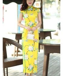 Yellow green ribbon patchwork floral printed silk material handmade short sleeves high quality  women's ladies female slim Chinese wedding party  dresses cheongsam dreses