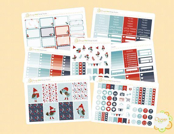 Winter Bird Weekly Kit Winter Weekly Kit Planner Stickers