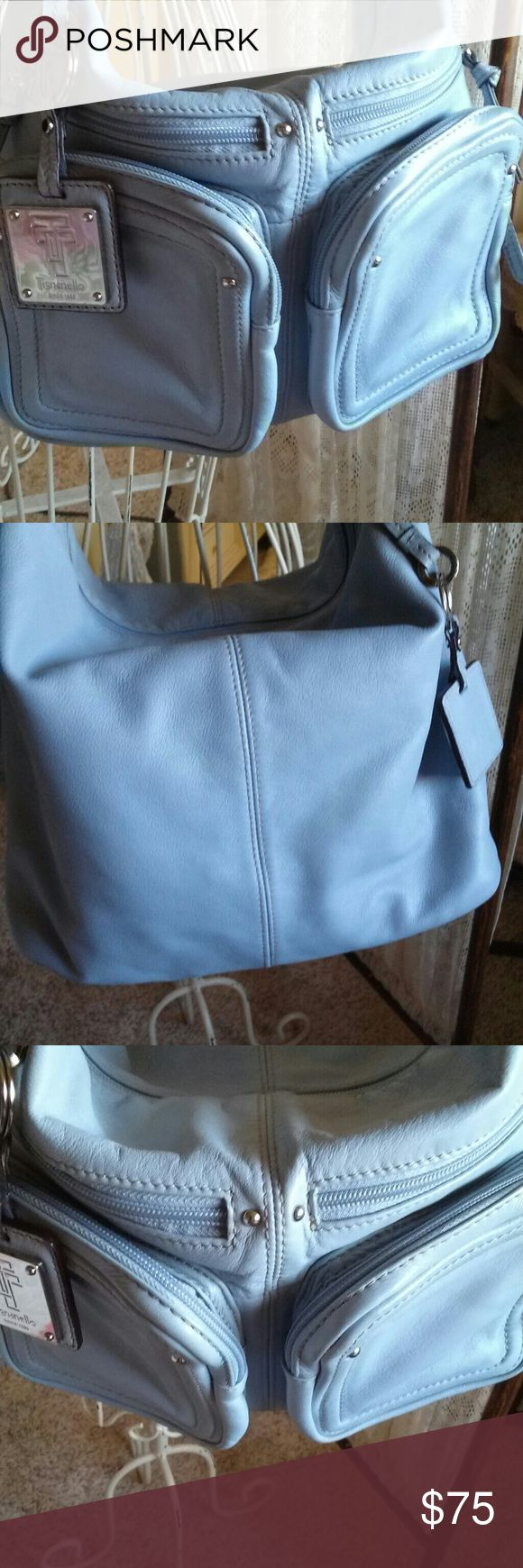 Tignanello handbag Beautiful baby blue cargo pockets new condition butter-soft leather comes with detachable key ring lots of room & pockets Tignanello Bags Shoulder Bags
