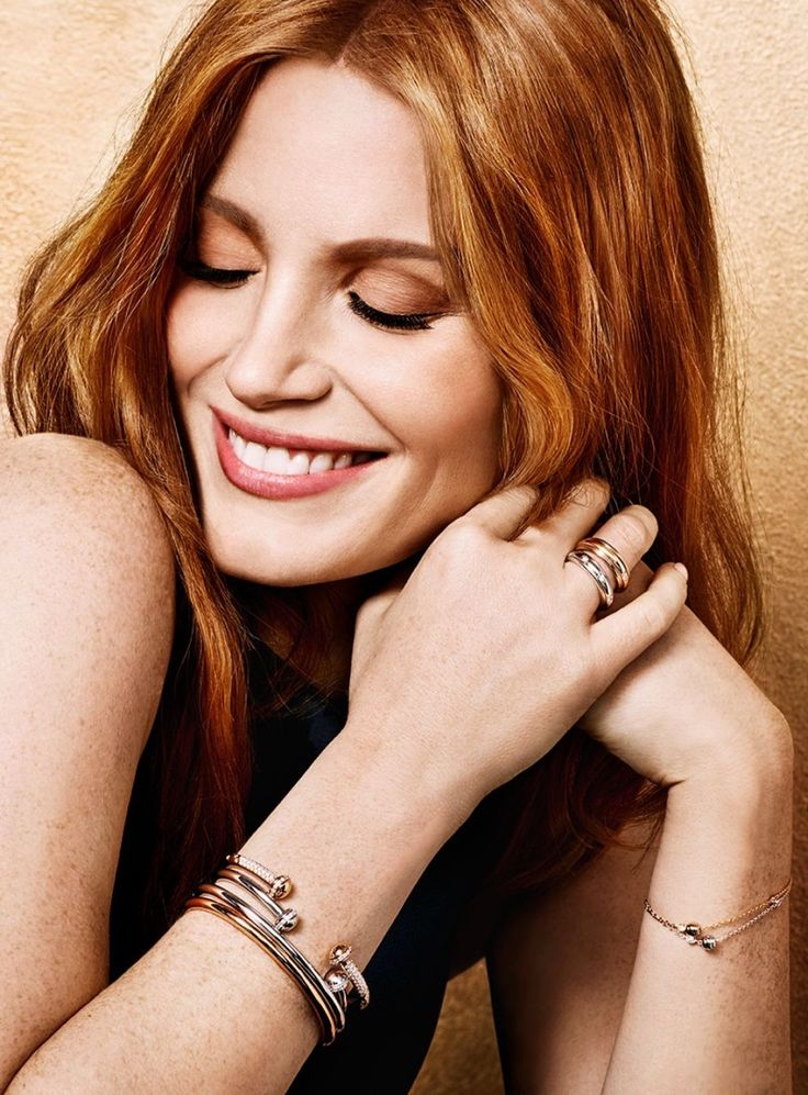 Jessica Chastain models bracelets from Piaget jewelry