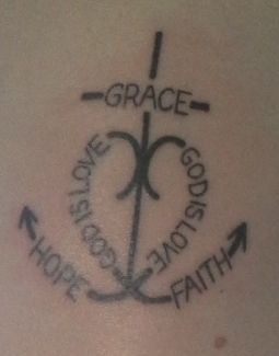 cross, heart, anchor tattoo. love it--not one for tattoos but this is creative