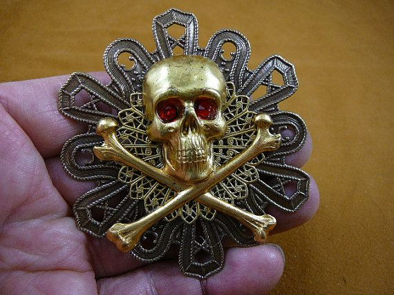 Large Pirate lover skull crossbones red eyes pin by sharkman123