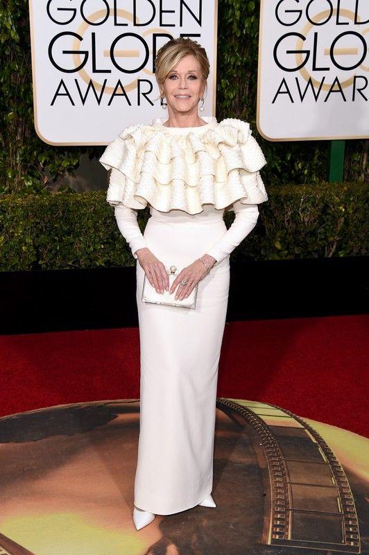 Złote Globy 2016:Jane Fonda w sukni Saint Laurent, fot. East News