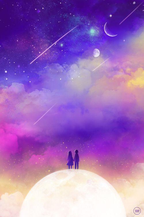 Moon Space Stars Night Sky Children Original Myart Planets