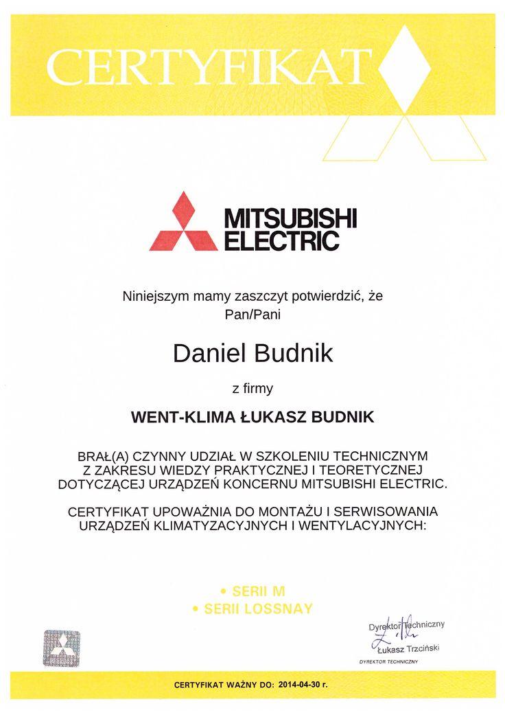 Certyfikat z firmy Mitsubishi, seria M oraz Lossnay