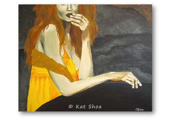 ORIGINAL Painting Wall Art Canvas Modern Artwork Figurative Redhead Woman Orange Yellow Bedroom Sexy Living Room Home Decor K Shoa Kshoa