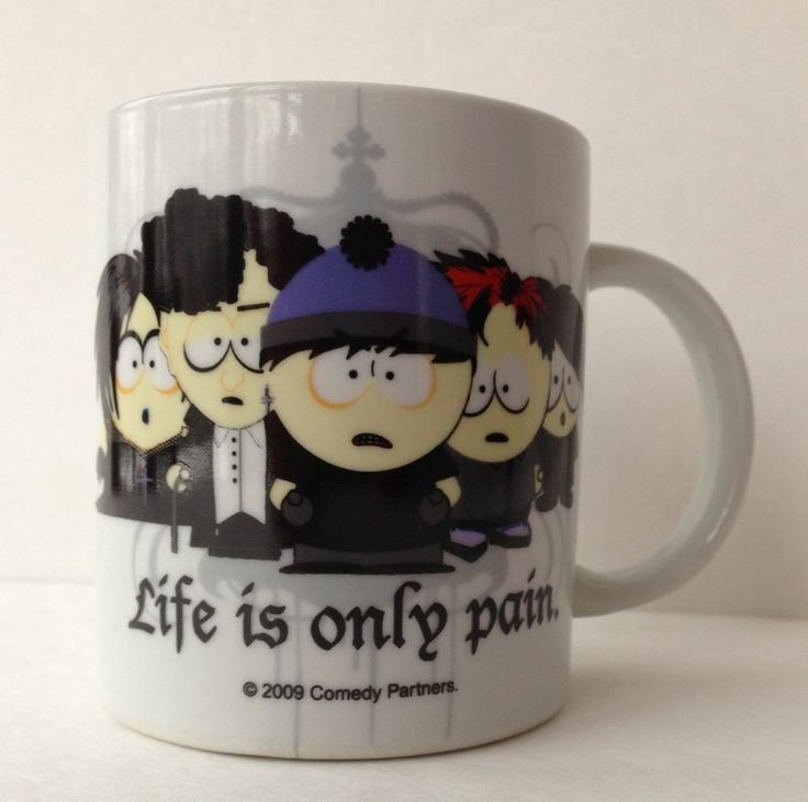 2009 South Park Life Is Only Pain Mug Gothic Goth Kids Comedy Partners Coffee