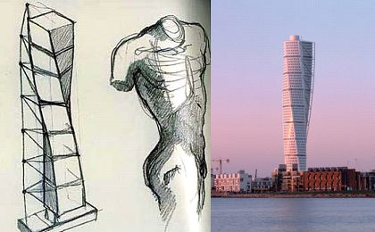 Calatrava's sketches and his resulting Turning Torso Building, Sweden