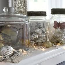 Coloured clear baubles in a glass jar...
