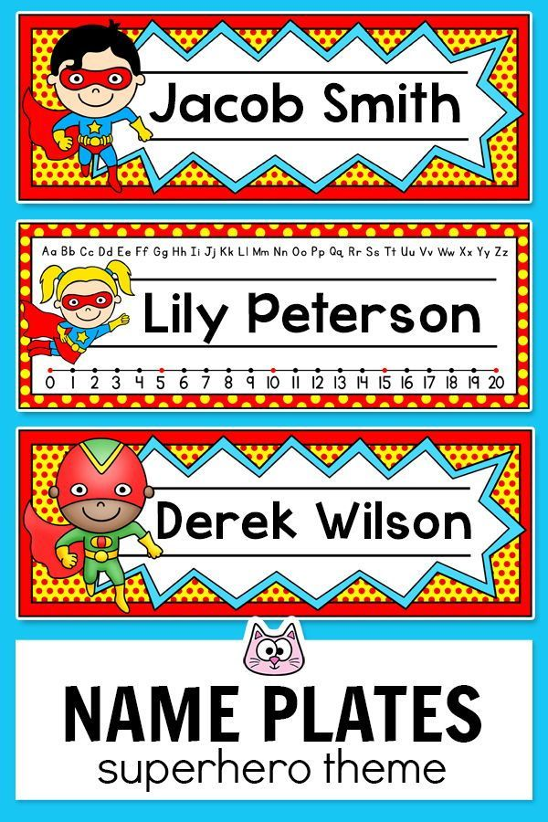 These fun superhero theme name plates will look fantastic on your students desks Ideal