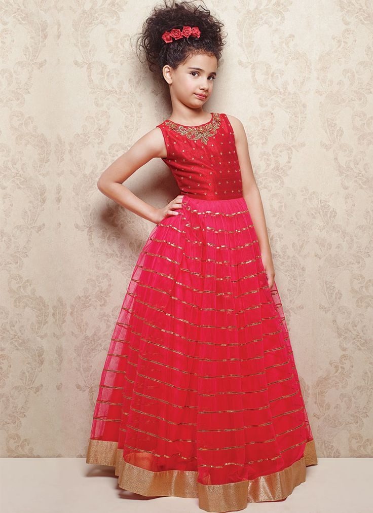Doll Pinkish Red Embellished Kids Gowns