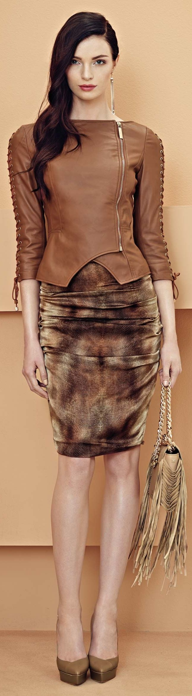 Hemline Inspiration!!!- Elisabetta Franchi S/S 2014 ~ There are so many jacket patterns out there with asymmetrical closures, it would be so easy to alter the hemline to recreate this beauty.