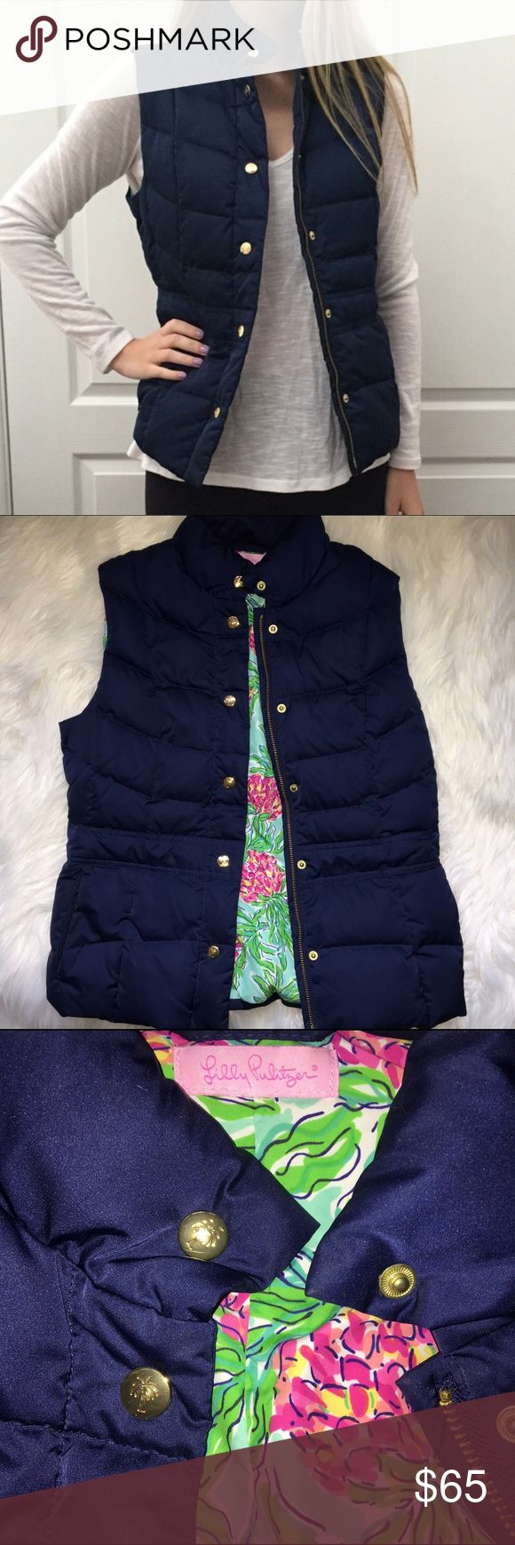 Lilly Pulitzer Navy Blue Vest Size Small In perfect condition Lilly Pulitzer Jackets & Coats Vests