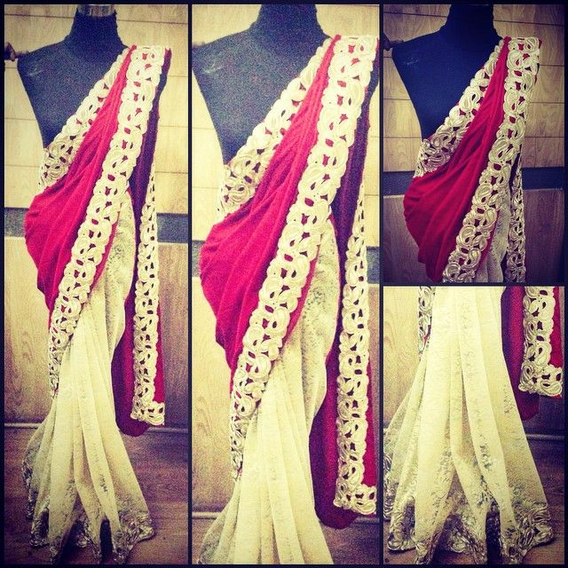 """Red and beige classic velvet and net combination saree #sari #saree #traditional #traditionalwear #salwarkameez #ethnic #ethnicwear #indianwear #indianoutfit #indianwedding #bollywood #heroine #houseof2 #gosf #greatonlineshoppingfestival"" Photo taken by @house_of_2 on Instagram, pinned via the InstaPin iOS App! http://www.instapinapp.com (12/05/2014)"
