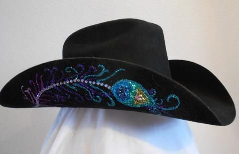 Peacock Bling Black Felt Cowboy Hat