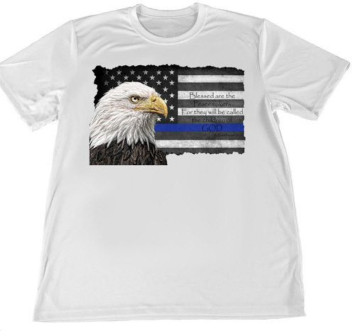 Thin Blue Line American Flag & Eagle Blessed Are the Peacemakers Poster (11 x 17)