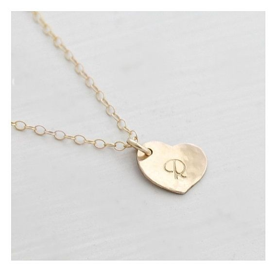 14k Gold Filled Dainty Heart Initial Necklace by edenzoe on Etsy