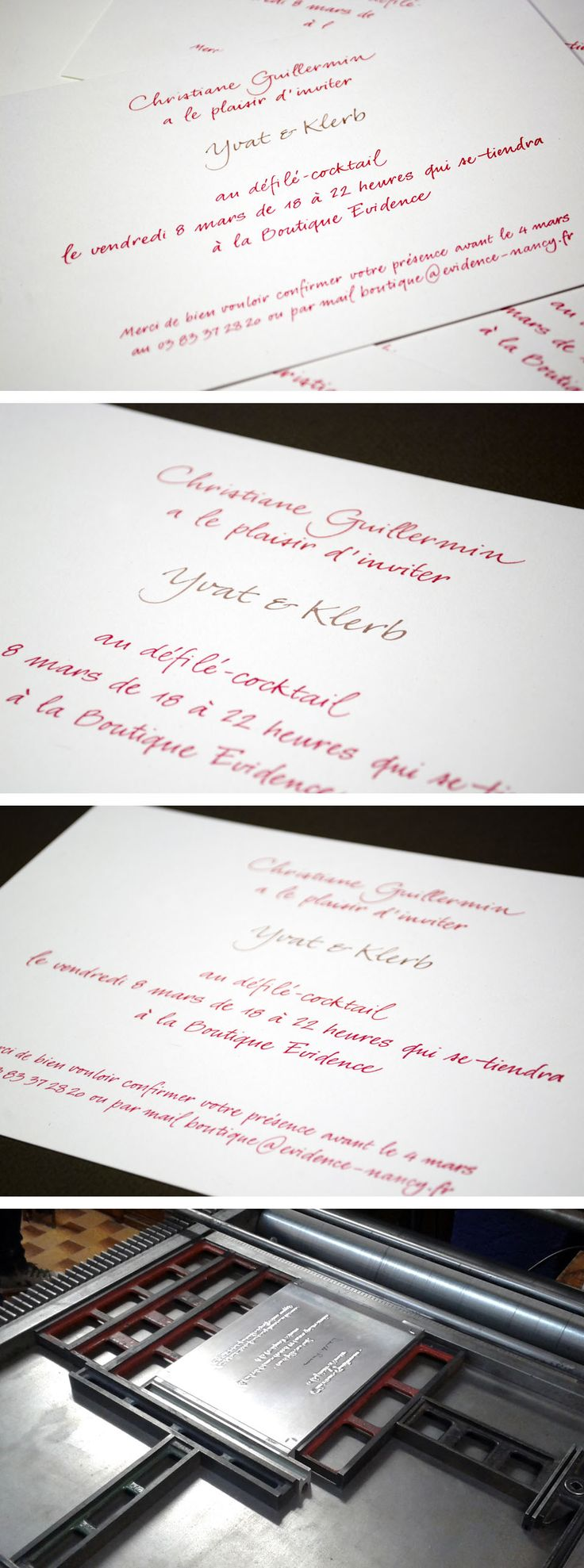 Yvat and Klerb teamed up with Billiotte and Co to design a unique calligraphical lettepress invite | http://www.y-k.it