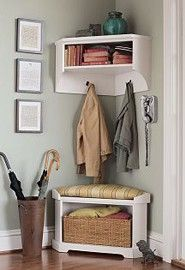 DIY Mini Mudroom : No closet in foyer? Use a corner of your front hall to carve out a mini mudroom!