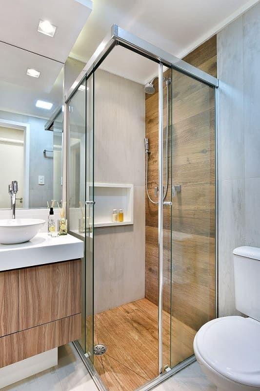 apartamento decorado banheiro porcelanato madeira tetriz arquitetura