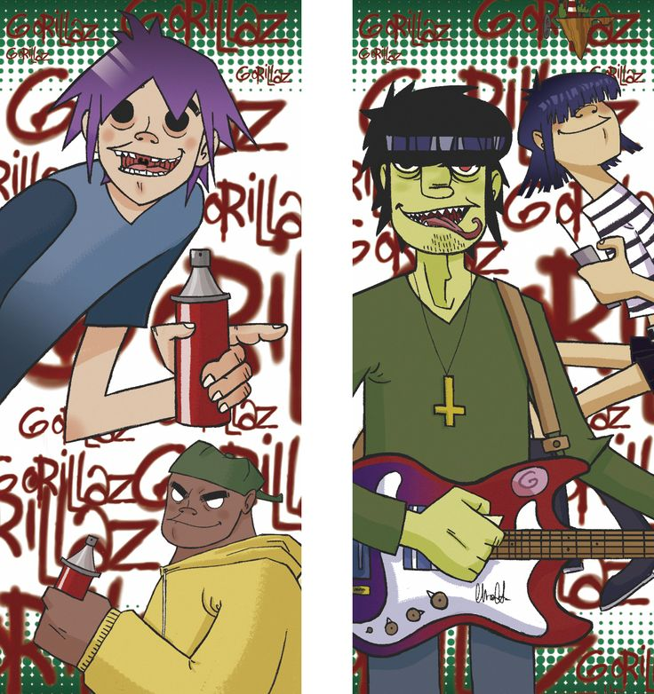 Bookmark from musical group Gorillaz  #gorillaz #fanart #illustration