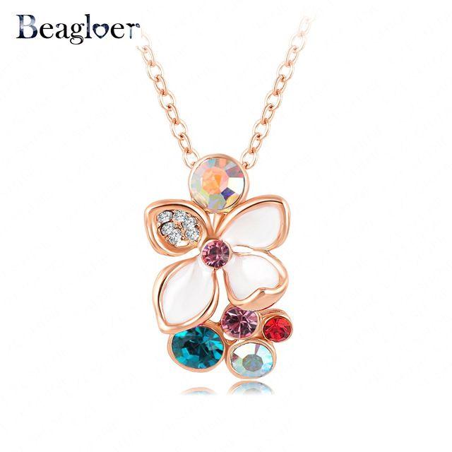 Роскошный цветной хрустальный цветок ожерелье настоящее 18 К роуз-позолоченные цепи колье с белой эмалью цветок кулон NL0002