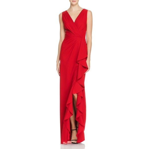 Aidan Mattox Chiffon V-Neck Gown - 100% Exclusive (2 470 ZAR) ❤ liked on Polyvore featuring dresses, gowns, red, v-neck dresses, v neck dress, red v neck dress, red dress and red gown
