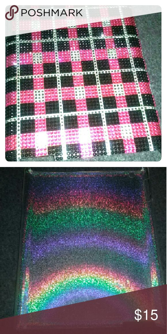 Apple iPad2 cover/case Really cute pink, black and silver rhinestones. Good shape. Missing a couple gems on corner/s Second picture is on inside of cover. Other