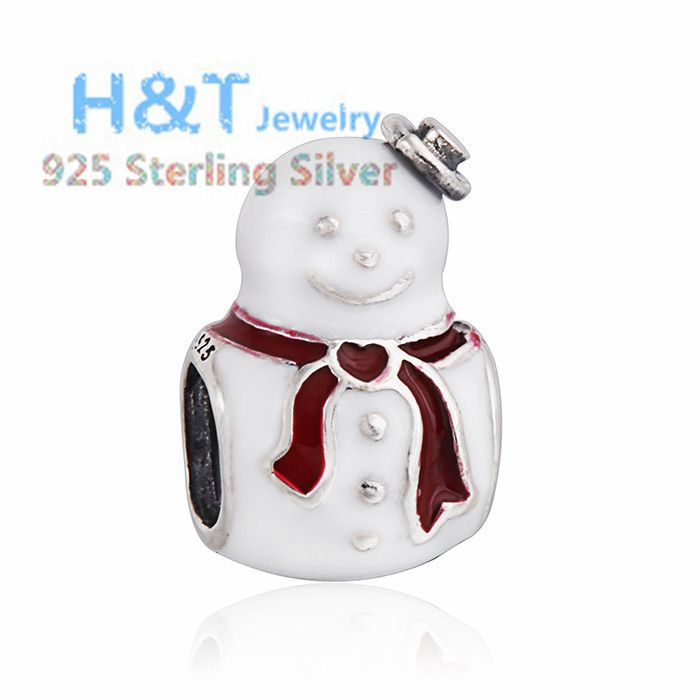 2015 New 925 Sterling Silver Winter Christmas Snowman Enamel Charm Beads Fit Pandora Style Snake Chain Bracelets