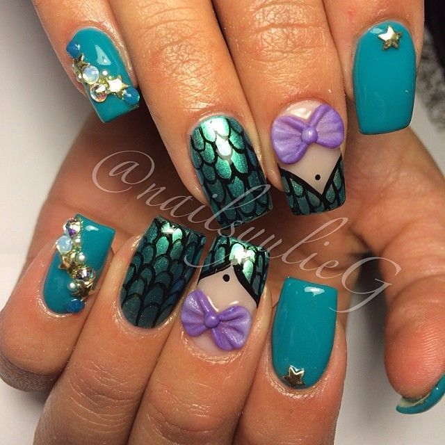 Disney Princess Tiana Waterfall Nail Art: Real Beautiful Nail Arts