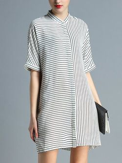Branco Metade das listras da luva da camisa de vestido