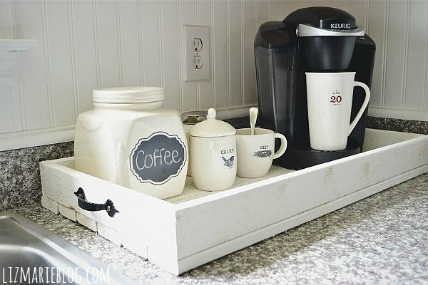 Coffee station. Love that it's on a tray (Obviously you wouldn't take the Keurig with you):