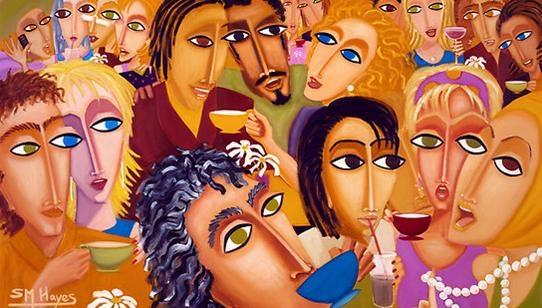 The crowded cafe, 샤론 헤이즈 ,  2008  이 작품은 2008년 뉴욕과 라스베가스 도심 전광판을 통해 전시된 작품이다.  작품속의 사람들은 카페에 앉아 제각각 커피와 음료를 마시고 있다. 하지만 눈과 코의 모습이 거의 비슷하다. 작가의 의도는 동시대에 살고 있는 사람들의 공통된 꿈과 이상을 그려낸 것이다.