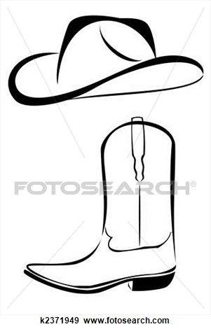 tribal, sombrero vaquero, y, bota Ver Ilustración en Grande
