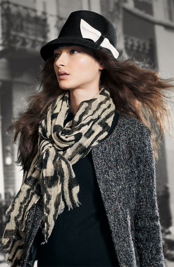 Echo Tribal Geometric Scarf & Halogen® Contrast Bow Fedora #Nordstrom #AugustCatalog