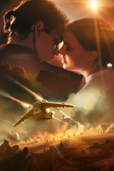 Star Wars Anakin and Padme episode 2 art.